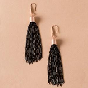 Painted Chain Tassel Hook Earrings