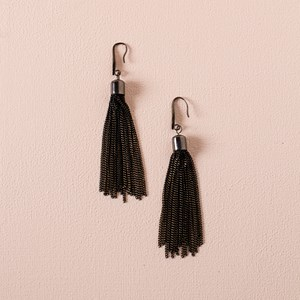 Painted Chain Tassel Hook Earrings