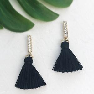 Diamante Rod Tassel Earrings