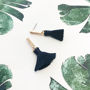 Diamante Rod Tassel Earrings