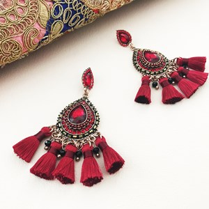 Jewelled Teardrops Tassel Earrings