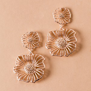 Cut Out Floral Diamante Earrings
