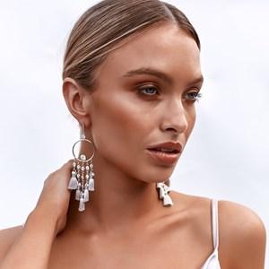 Diamante Tassel Circle Drop Earrings