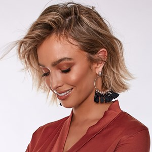 Tassel Drops Circle Button Earrings