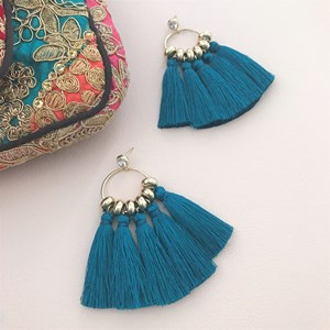 Long Tassels Circle Earrings