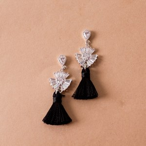 Mini CZ Fan Tassel Earrings