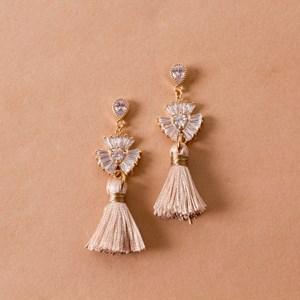 Mini CZ Fan Tassel Earrings