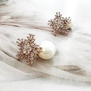 Pearl Drop Diamante Baguette Earrings
