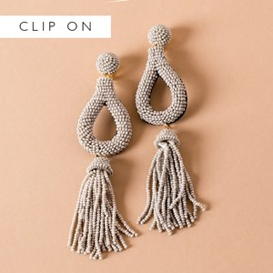 Beaded Teardrop Tassel Clip On Earrings