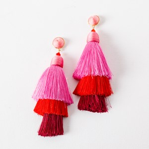 Layered Tassel Wound Top Earrings