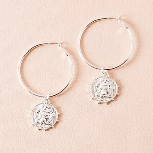 Lion Drop Hoop Earrings