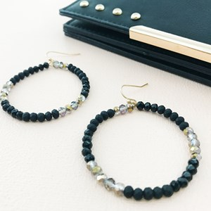 Beaded Hoop Hook Earrings