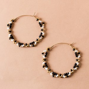 Beaded Frill Edge Hoop Earrings