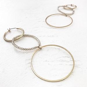 Trio Bead & Metal Rings Earrings
