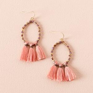 Tri Tassel End Beaded Hook Earrings