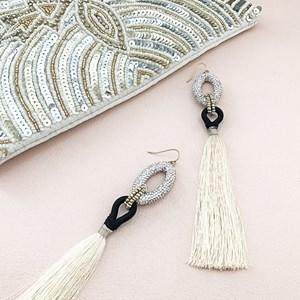 Linked Rings Long Tassel Earrings