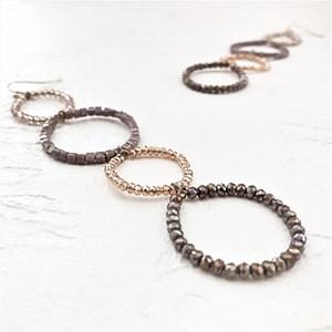 Four Beaded Rings Hook Earrings