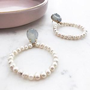 Jewel Top Freshwater Pearl Earrings
