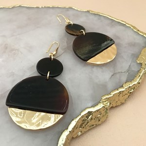 Circles Resin & Metal Hook Earrings