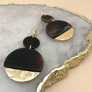 Circles Resin & Metal Hook Earrings
