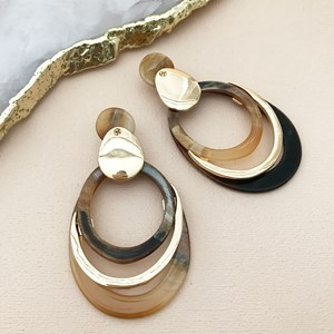 Layered Circles Resin & Metal Earrings