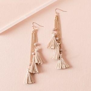 Triple Cotton Tassel Chain Drop Earring