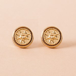 Sun God Disk Stud Earring