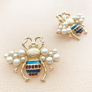 Bumble Bee Pearl Wings Stud Earring