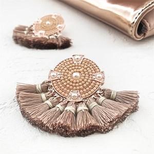 Multi Tassels Resin & Pearl Disk Earring