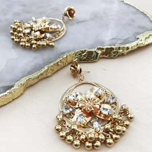 Jewelled Flower Moroccan Ball Charms Earring