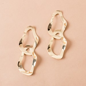 Moulded Oval Metal Links Earring