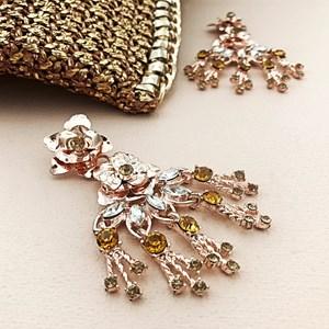 Double Metal Flowers & Jewel Drop Earring