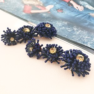 Beaded Flower Triple Drop Earring