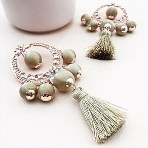 Cotton Balls & Tassels Jewel Ring Earring