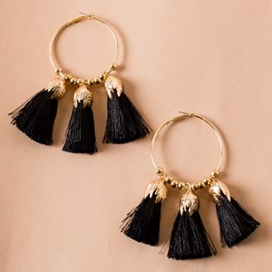 Metal Tulip Cotton Tassel Hoops Earring