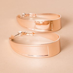 Oval Wide Metal Hoop Earring