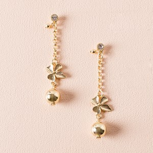 Orchid & Ball Chain Drop Earring