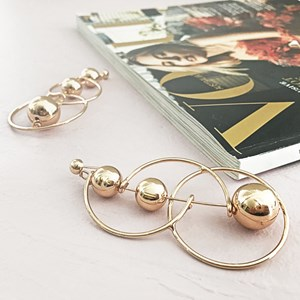 Metal Ball & Rings Chelsea Earring