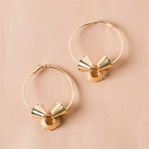 Abstract Coiled Metal Hoop Earring
