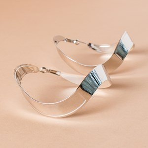 Warped Wide Metal Statement Hoop Earring