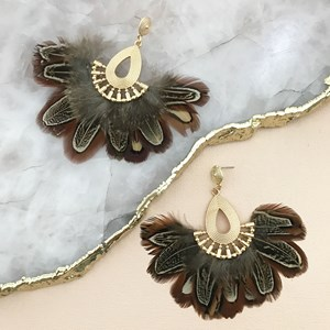 Feather Fan Teardrop Earring
