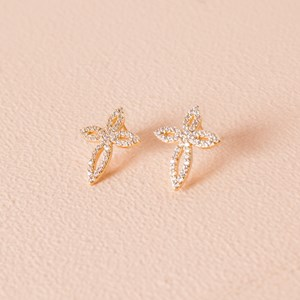 CZ Diamante Ornate Cross Stud Earring