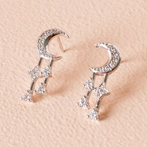 CZ Diamante Moon & Twilight Stud Earring
