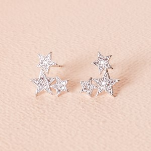 CZ Diamante Star Cluster Stud Earring