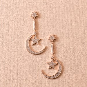 CZ Diamante Crescent Moon & Star Drop Earring