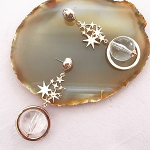 Celestial Stars & Clear Planet Drop Earring