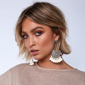Filigree & Tassel Chain Drop Earring