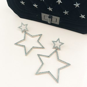 Diamante Star Drop Earring