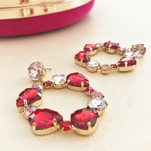 Jewelled Ring Drop Stud Earring