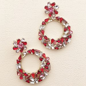 Mixed Jewel Flower & Ring Drop Earring
